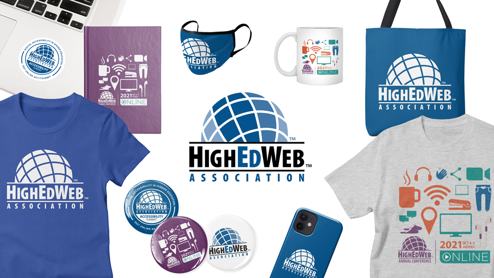 Samples of HighEdWeb Store items branded to the association and events.